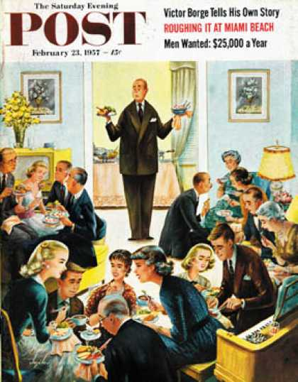 Saturday Evening Post - 1957-02-23: Dinner Buffet (Constantin Alajalov)