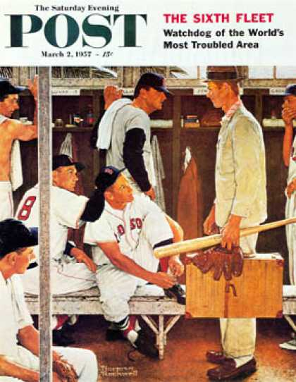 "Saturday Evening Post - 1957-03-02: ""Baseball Locker Room"" (rookie) (Norman Rockwell)"