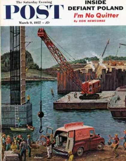 Saturday Evening Post - 1957-03-09: Bridge Construction (Ben Kimberly Prins)