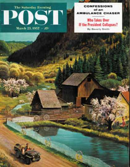 Saturday Evening Post - 1957-03-23: Mountain Farm (John Clymer)
