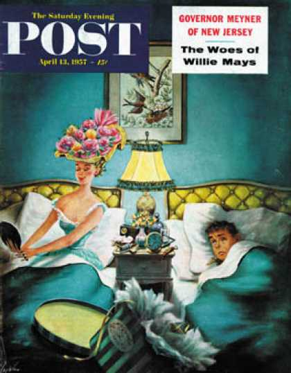 Saturday Evening Post - 1957-04-13: Late Night Hat Check (Constantin Alajalov)