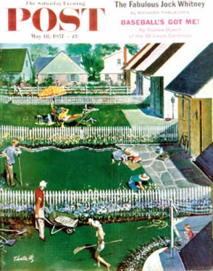 Saturday Evening Post - 1957-05-18: Spring Yardwork (Thornton Utz)