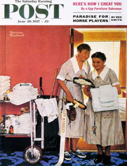 "Saturday Evening Post - 1957-06-29: ""Just Married"" (hotel maids and   confetti) (Norman Rockwell)"