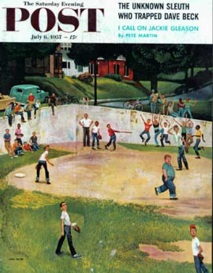 Saturday Evening Post - 1957-07-06: Sandlot Homerun (John Falter)