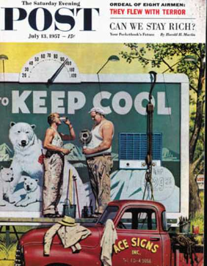 Saturday Evening Post - 1957-07-13: Billboard Painters (Stevan Dohanos)