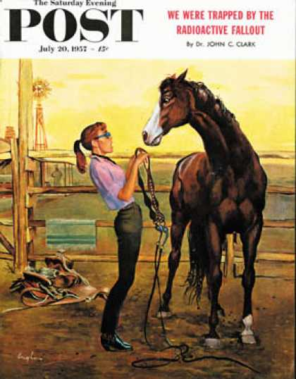 Saturday Evening Post - 1957-07-20: Putting on the Bridle (George Hughes)
