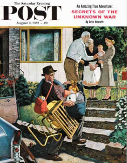 Saturday Evening Post - 1957-08-03: Visiting the Grandparents (Amos Sewell)