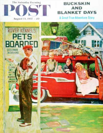 Saturday Evening Post - 1957-08-24: Boarding the Dog (Earl Mayan)