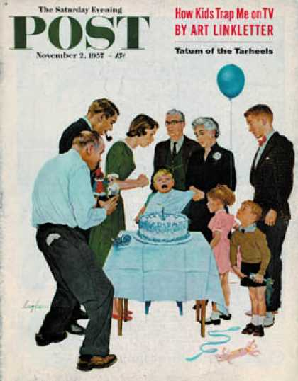Saturday Evening Post - 1957-11-02: First Birthday (George Hughes)