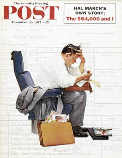 "Saturday Evening Post - 1957-11-30: ""Balancing the Expense Account"" (Norman Rockwell)"