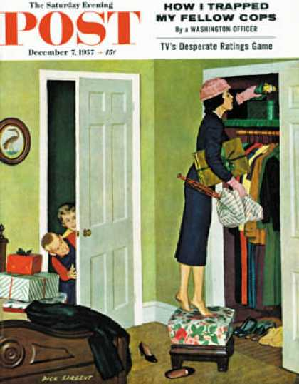 Saturday Evening Post - 1957-12-07: Hiding the Presents (Richard Sargent)
