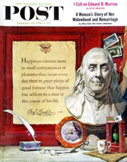 Saturday Evening Post - 1958-01-18: Benjamin Franklin - bust and quote (Stanley Meltzoff)