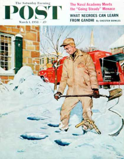 Saturday Evening Post - 1958-03-01: Heating Oil Delivery (George Hughes)