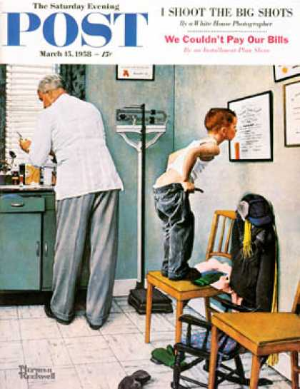 "Saturday Evening Post - 1958-03-15: ""Before the Shot"" or ""At the   Doctor's"" (Norman Rockwell)"