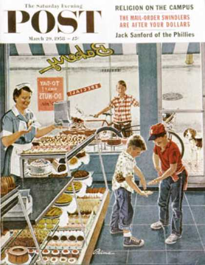 Saturday Evening Post - 1958-03-29: Doughnuts for Loose Change (Ben Kimberly Prins)