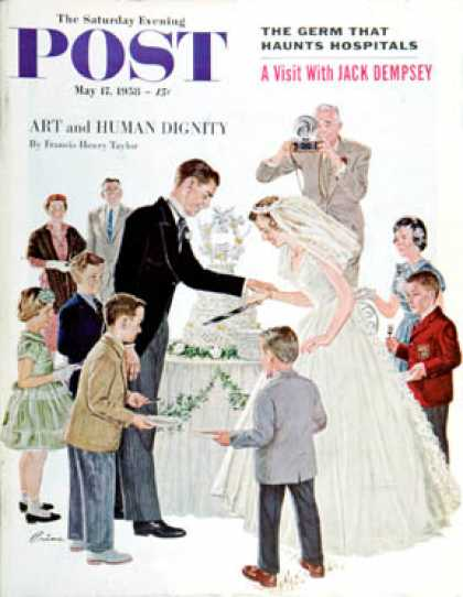 Saturday Evening Post - 1958-05-17: Cutting the Cake (Ben Kimberly Prins)