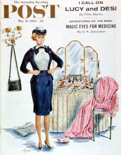 Saturday Evening Post - 1958-05-31: Trying on the Old Uniform (Constantin Alajalov)