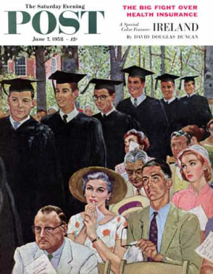 Saturday Evening Post - 1958-06-07: Entrance of the Graduates (George Hughes)
