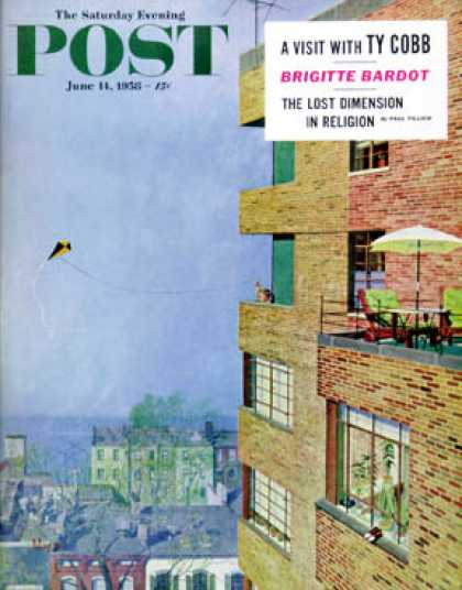 Saturday Evening Post - 1958-06-14: Apartment Kite Flyer (Earl Mayan)