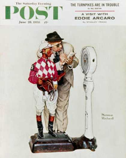 "Saturday Evening Post - 1958-06-28: ""Jockey Weighing In"" (Norman Rockwell)"