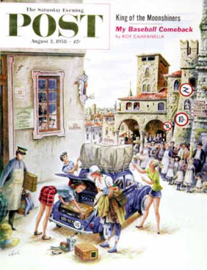 Saturday Evening Post - 1958-08-02: Coed Tourists in Italy (Constantin Alajalov)