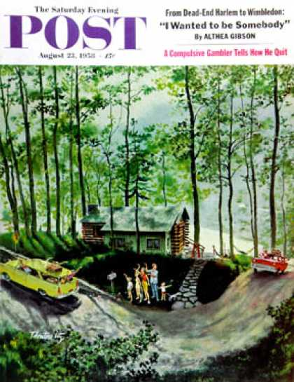 Saturday Evening Post - 1958-08-23: Visitors to Cabin in the Woods (Thornton Utz)