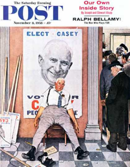 "Saturday Evening Post - 1958-11-08: ""Elect Casey"" or ""Defeated   Candidate"" (Norman Rockwell)"