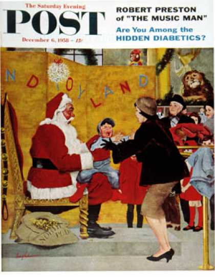 Saturday Evening Post - 1958-12-06: Crying on Santa's Lap (George Hughes)