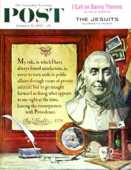Saturday Evening Post - 1959-01-17: Benjamin Franklin - bust and quote (Stanley Meltzoff)