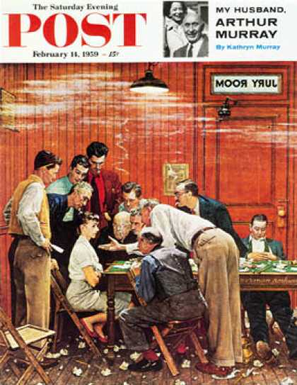 "Saturday Evening Post - 1959-02-14: ""Jury"" or ""Holdout"" (Norman Rockwell)"