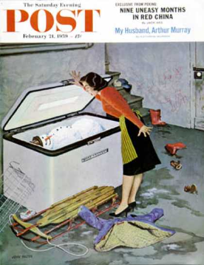 Saturday Evening Post - 1959-02-21: Frosty in the Freezer (John Falter)