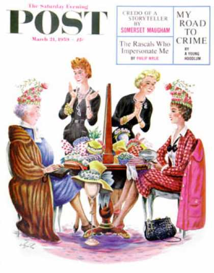 Saturday Evening Post - 1959-03-21: Same Hat, Two Different Women (Constantin Alajalov)
