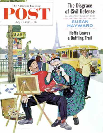 Saturday Evening Post - 1959-07-11: Parisian Artist & Tourist (Richard Sargent)