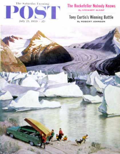 Saturday Evening Post - 1959-07-25: Portage Glacier (John Clymer)