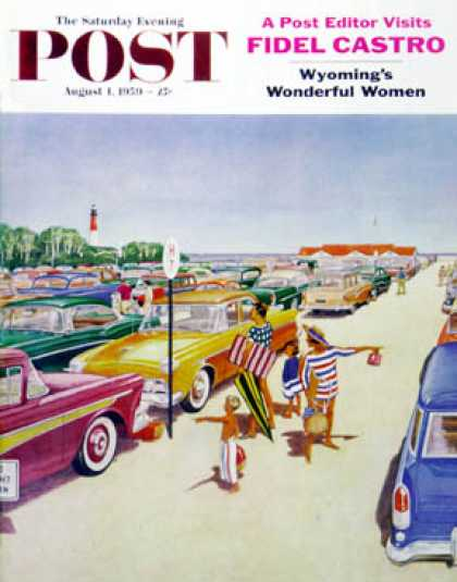 Saturday Evening Post - 1959-08-01: Beach Parking Lot (James Williamson)
