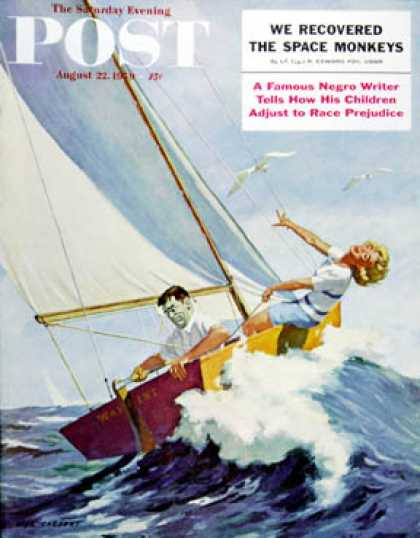 Saturday Evening Post - 1959-08-22: Seasick Sailor (Richard Sargent)