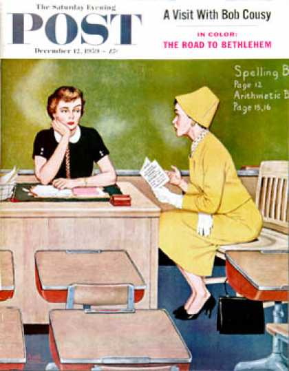 Saturday Evening Post - 1959-12-12: Parent - Teacher Conference (Amos Sewell)