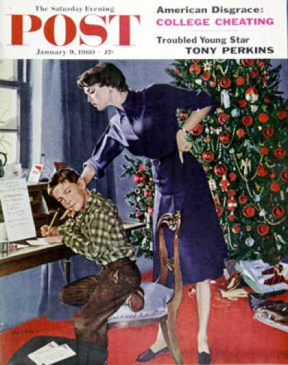 Saturday Evening Post - 1960-01-09: Christmas Thank You Notes (George Hughes)