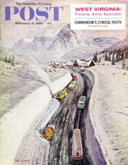 Saturday Evening Post - 1960-02-06: Snowplows at Snoqualmie Pass (John Clymer)