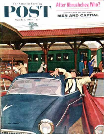 Saturday Evening Post - 1960-03-05: Cramped Parking (Richard Sargent)