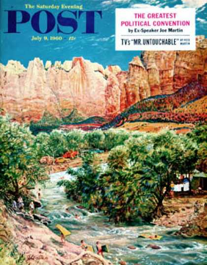 Saturday Evening Post - 1960-07-09: Zion Canyon (John Clymer)