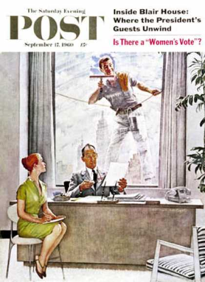 "Saturday Evening Post - 1960-09-17: ""Window Washer"" (Norman Rockwell)"