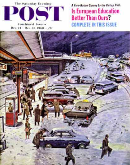Saturday Evening Post - 1960-12-24: Commuter Station Snowed In (Ben Kimberly Prins)