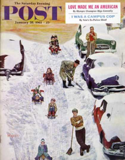Saturday Evening Post - 1961-01-28: Sledding and Digging Out (Earl Mayan)