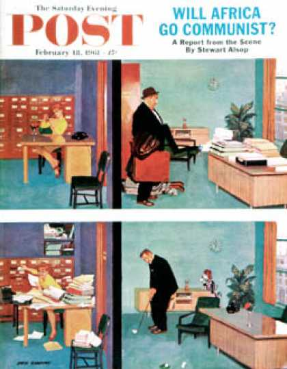Saturday Evening Post - 1961-02-18: Putting Time in the Office (Richard Sargent)