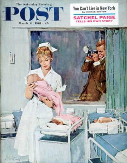 Saturday Evening Post - 1961-03-11: Father Takes Picture of Baby in Hospital (M. Coburn Whitmore)