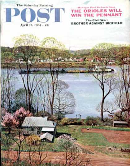 Saturday Evening Post - 1961-04-15: Ohio River in April (John Clymer)