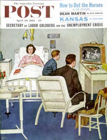 Saturday Evening Post - 1961-04-29: Baseball in the Hospital (Amos Sewell)