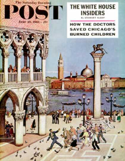 Saturday Evening Post - 1961-06-10: American Tourists in Venice (Amos Sewell)