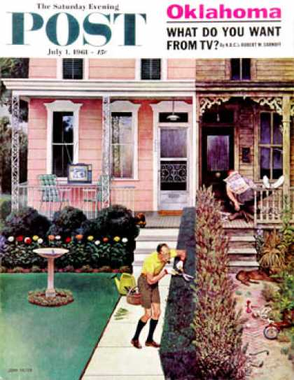 Saturday Evening Post - 1961-07-01: Tidy and Sloppy Neighbors (John Falter)